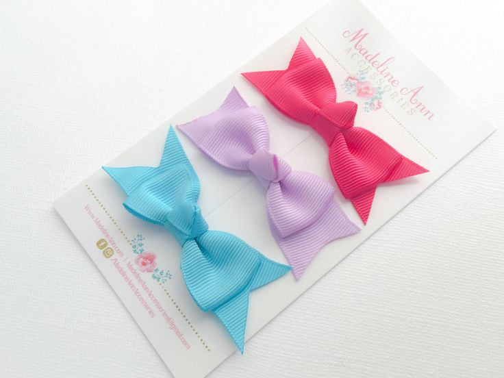 Bright Hair Bow SET, Simple Hair Bows, Pink Baby Hair Bows, Girls Ribbon Barrettes, Baby Girl Gift, Toddler Hair Clips, Knot Hair Bows www.madelineann.com #madelineannaccessories