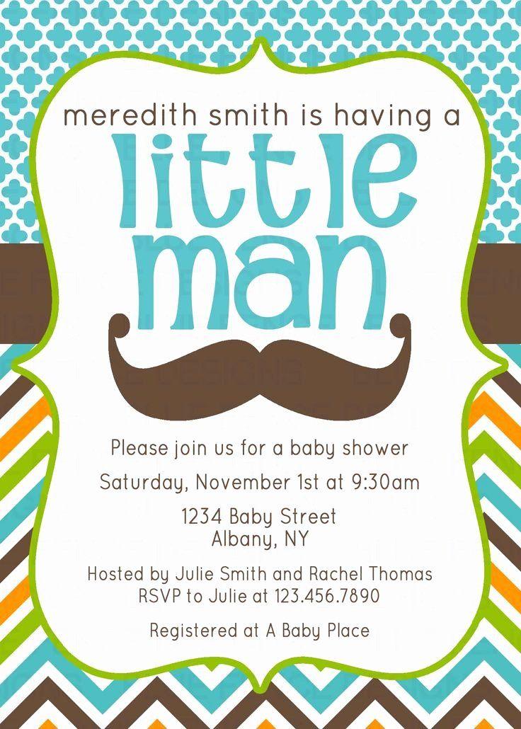 Mustache Baby Shower Invitation Lovely