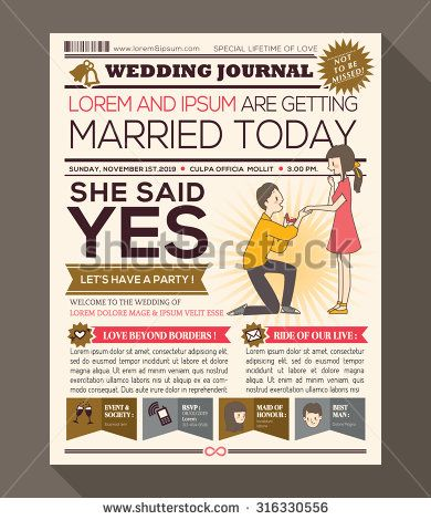51 best wedding invitations images on pinterest wedding invitation cartoon newspaper journal wedding invitation vector design template with illustration of a man making propose with stopboris Choice Image