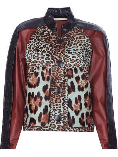Black calf leather jacket from Balenciaga featuring a short collar, black, red and leopard print panels at the front and back and an exposed black button through front fastening.