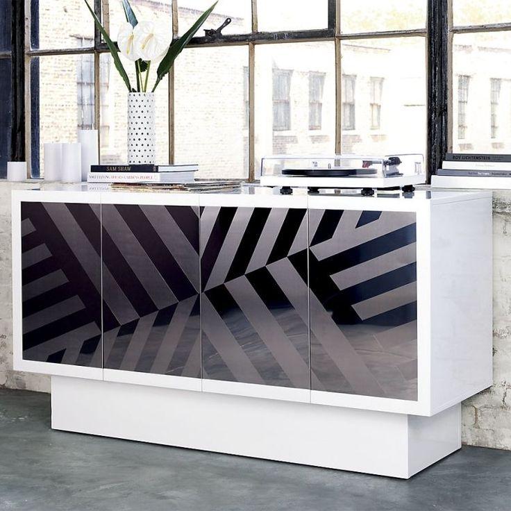 dco design buffet design blanc neige et noir laqu fleur dcorative et sol gris - Buffet Noir
