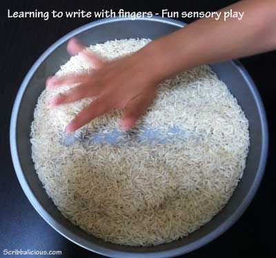 Learning to write with fingers - Sensory Play for Preschoolers - 1