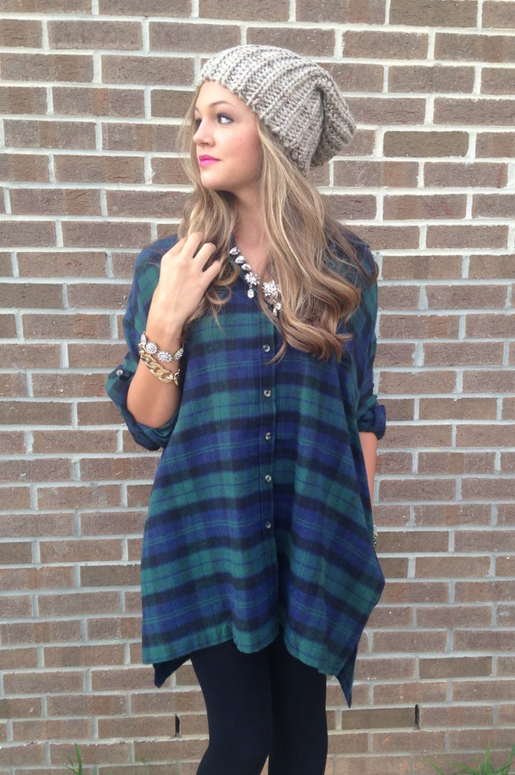 Plaid tunic & beanie #swoonboutique