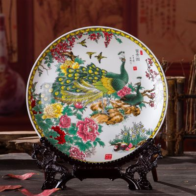 Handmade Royal Silver Phoenix Peony decorative plate ceramic plate/ Porcelain dish crafts Chinese style ornaments wedding gifts