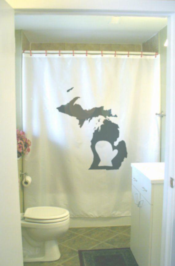 Michigan Mitten Shower Curtain MI State USA Map America Lower Upper Lake Bathroom Decor Kids Bath Cu