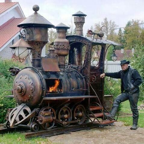 Steampunk train barbeque grill