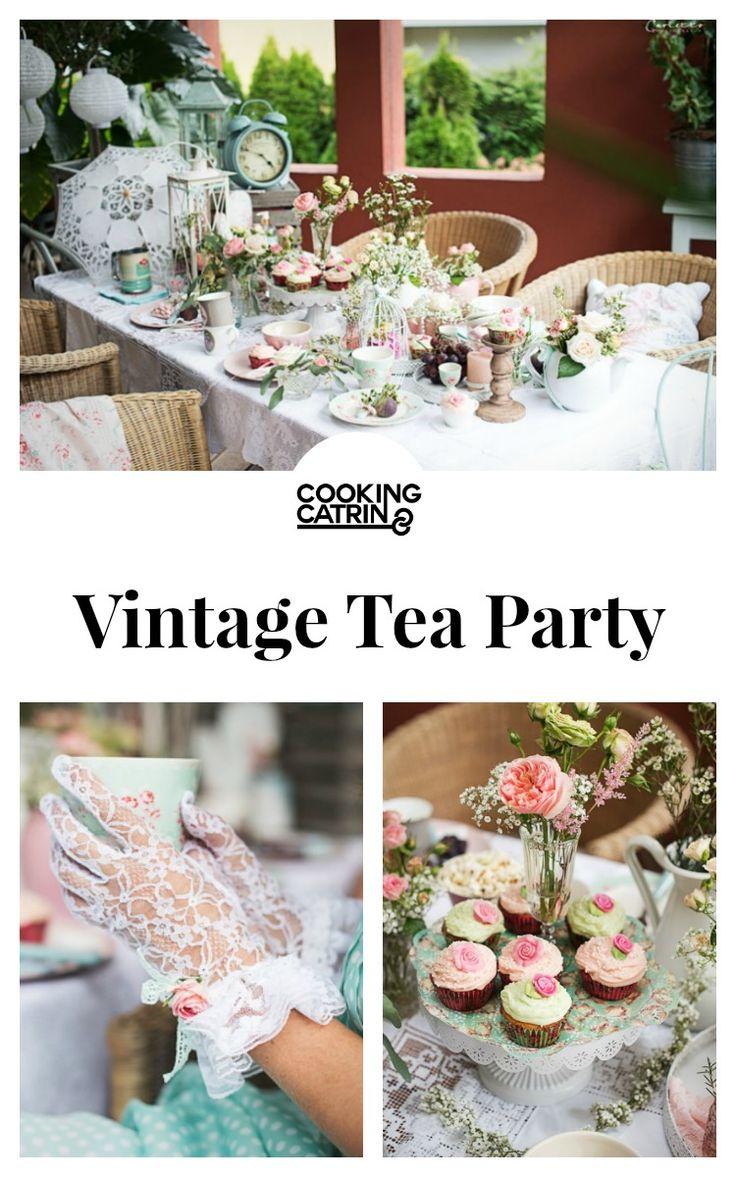 Vintage Tea Party, cupcakes, vintage, retro, blumen, flowers, deko, dekoration, dekotisch, flower cupcakes, blumescupcakes, scones with clotted cream, caramel toffees,