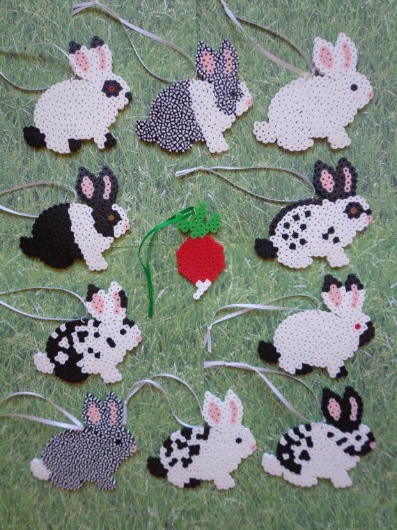 Black and White Bunny Rabbit Perler Bead Decoration Ornaments / Gift Tag Set of 10 Bunnies + 1 Radish""