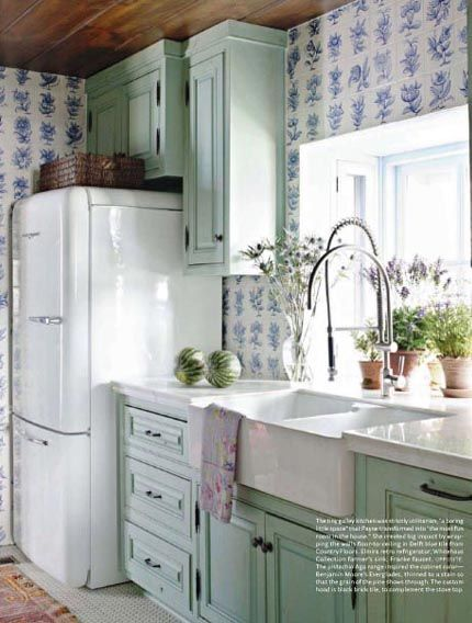 dutch tile kitchen with mint green cabinets