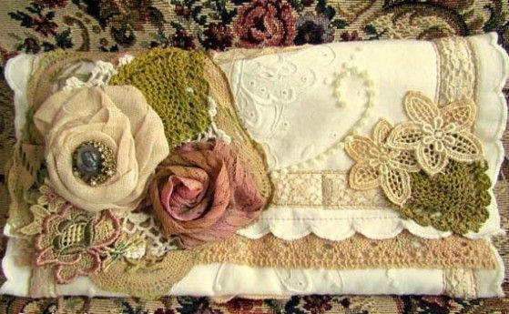 Shabby Chic Roses and Lace Clutch by suziq