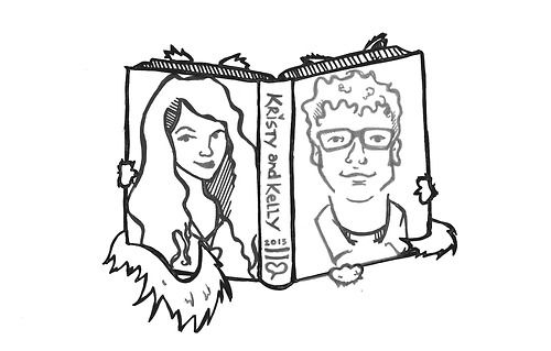 Wedding Illustration for my friend Kristy and her husband Kelly. They are both librarians and cat lovers. This was used as their photobooth logo and the image on their seating cards. Such a fun project.   By Amy Huber