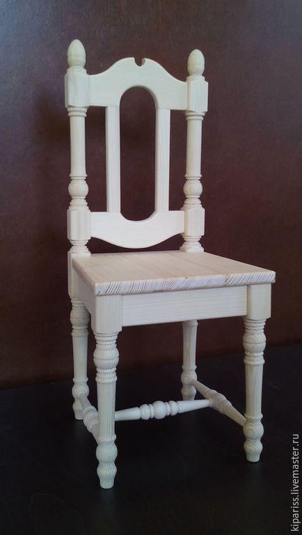 Купить стульчик для кукол - белый, стульчик для куклы, стульчик из дерева, стул для куклы, сиденье для кукол