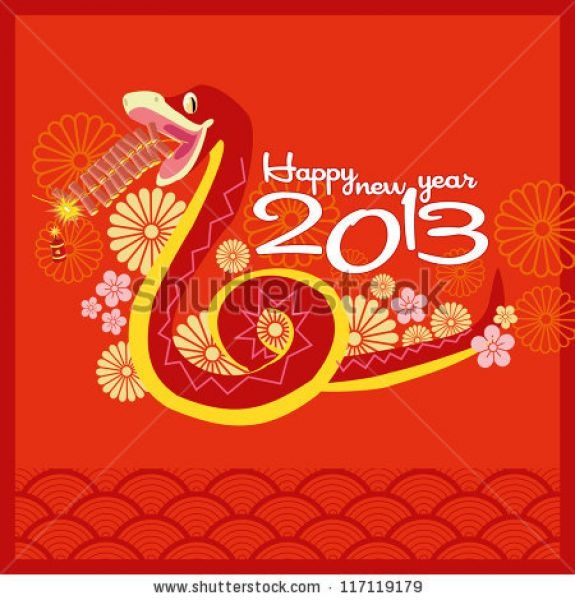 Vector  Chinese New Year 2013  Greeting Card Design  Year Of Snake Send Ecard Happy Chinese New Year 2013