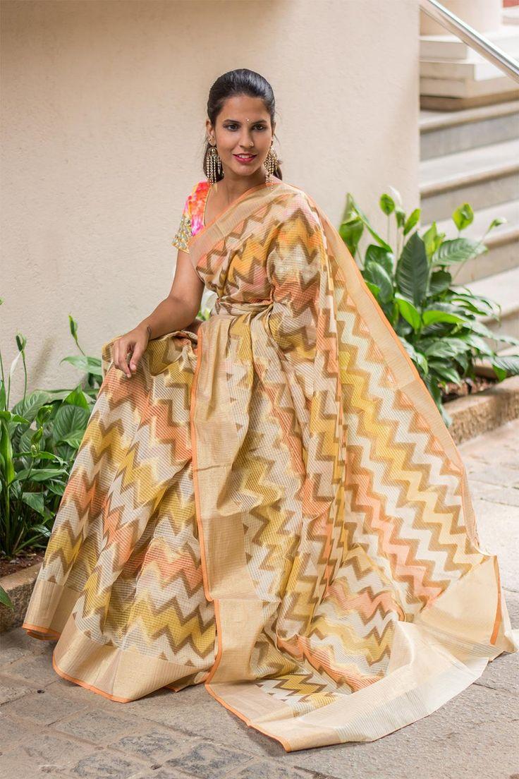 Yellow peach ivory Banaras kota saree with chevron weave & tissue border #saree #houseofblouse