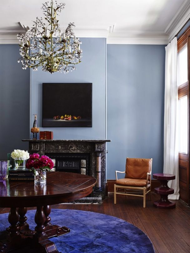 Imagine a tiled pale blue fireplace surround: Crater Lake, Mayan Blue or Caribbean all capture the tone of Serenity.