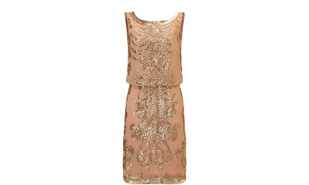 Peach 1920's style mini dress with gold embellishment by Ariella