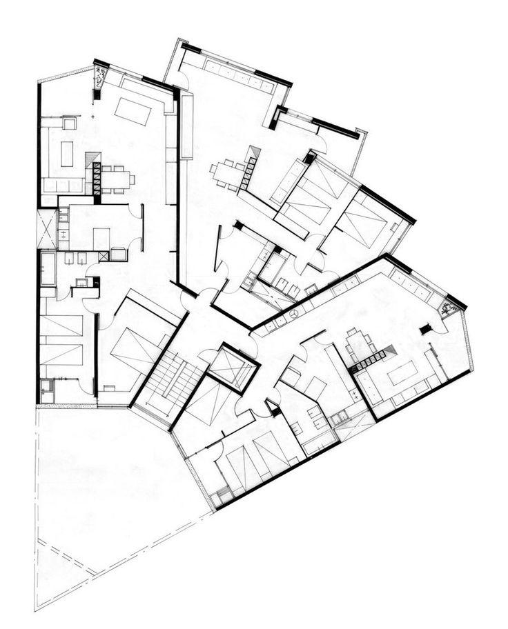 R. Bofill - Barcelona - 1965 #arquitectura #dibujos #plantas #vivienda #vivienda colectiva #ricardo bofill