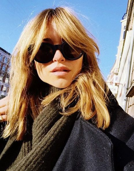 Slam dunking the 70s trend in the hair department: Pernille Teisbaek's far out bangs