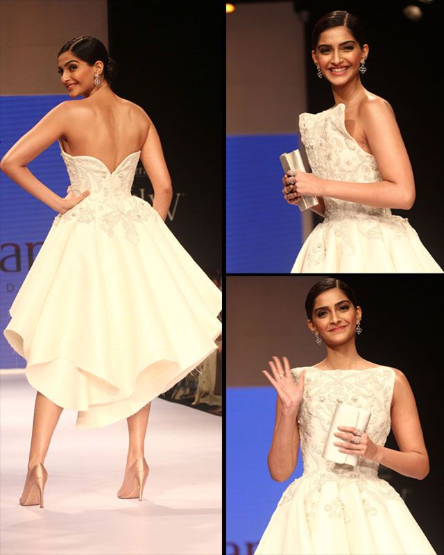 Vision in white: The 29-year-old beauty wore a ruffled cocktail dress by Ashi Studio with an elegant beige heels. Sonam is the brand ambassador for Gems and Jewellery Export Promotion Council, which is hosting the IIJW.