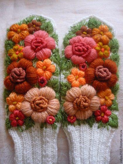 """Варежки с вышивкой """"Янтарь"""" - цветочный,варежки,варежки с вышивкой,вышивка"""