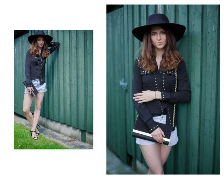 I was wearing #summeroutfit #denimshorts #denimshortsstyleoutfit #hat #hatforwomen #blackblouse #gold