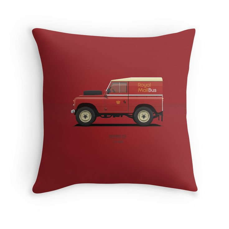 Series 3 Station Wagon 88 Royal Mail Bus  #redbubble #landrover #landroverseries #series3  #ARVwerks #apparel #merchandise #carart #art #automotive #royalmail #postman #post #landy #british #throwpillow