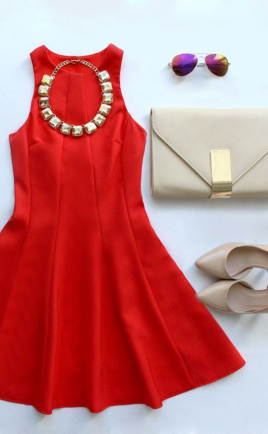 Flare Grounds Coral #Red #Dress.