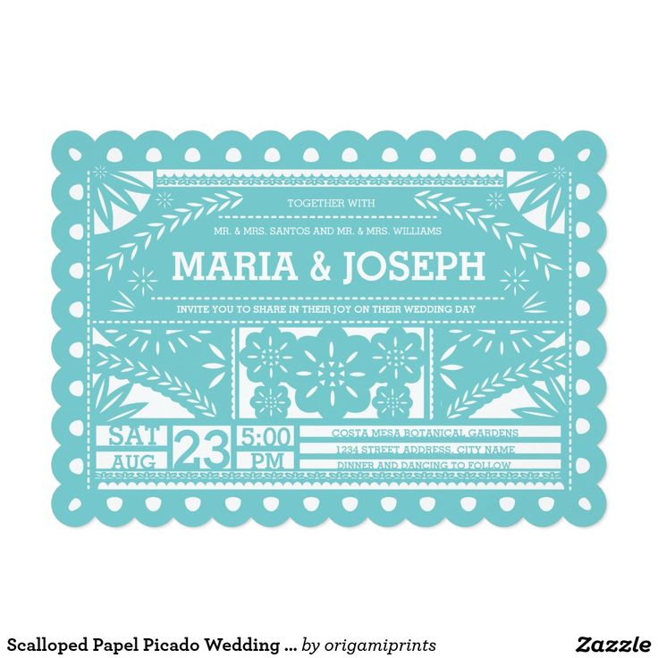 scalloped papel picado wedding invite tiffany blue - Papel Picado Wedding Invitations