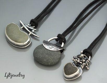 Three Beach Stone pendants,