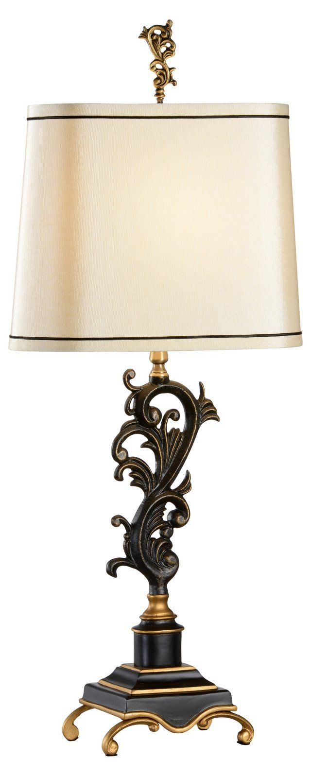 Wildwood brass and crystal beads buffet - Scrolls Table Lamp Black