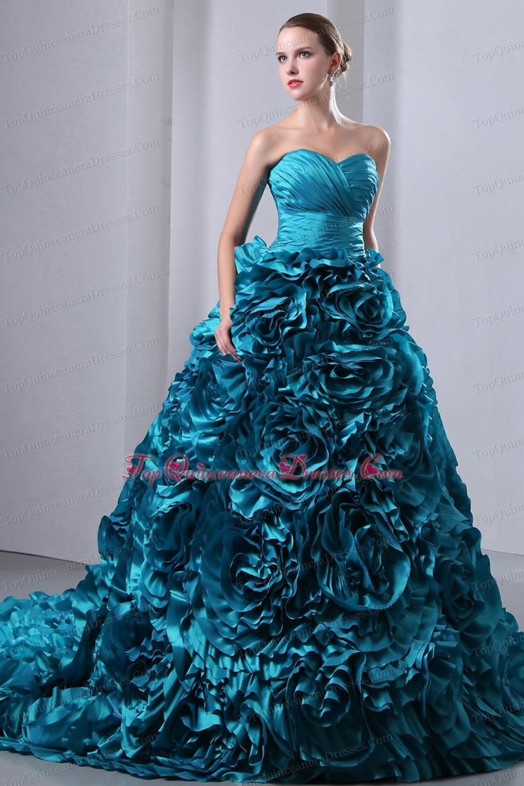 Teal Sweetheart Ruch 2014 Quinceanea Dress Brush Train