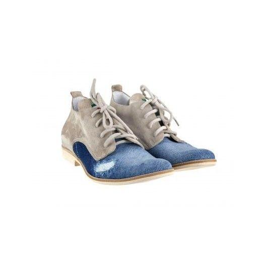 Pánske kožené topánky modrobéžové PT002 - manozo.hu