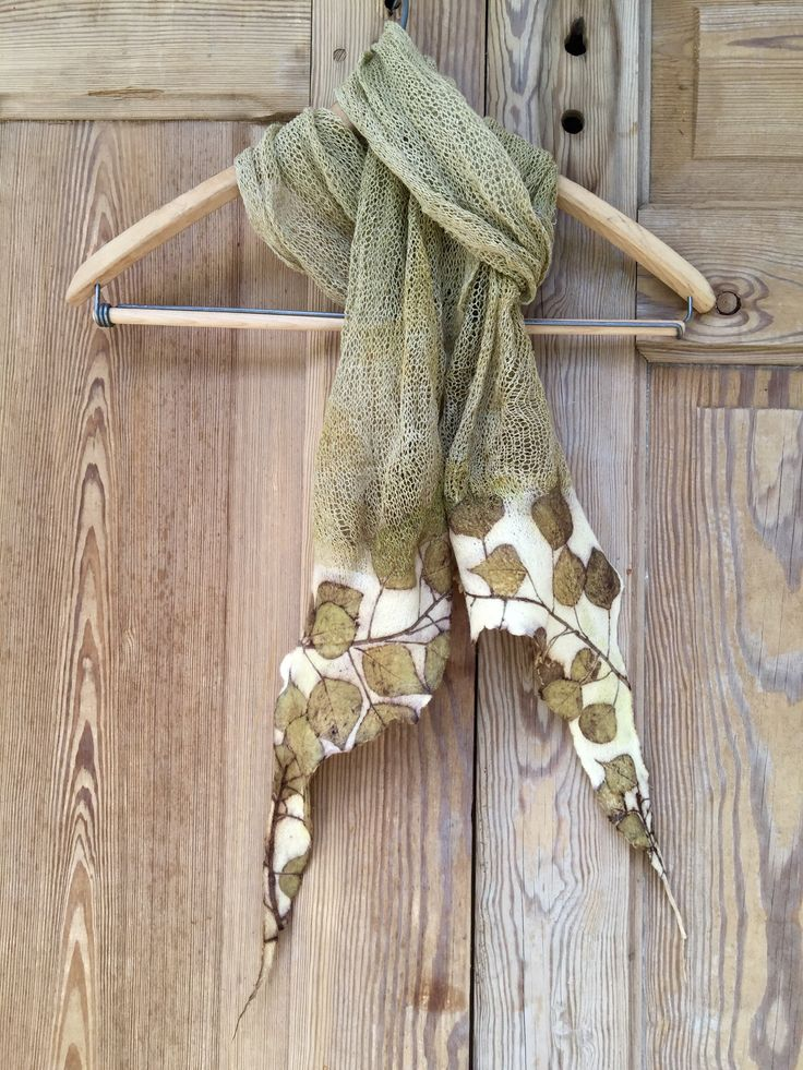 Knitted, felted and eco printed scarf by Rebecca Yeomans
