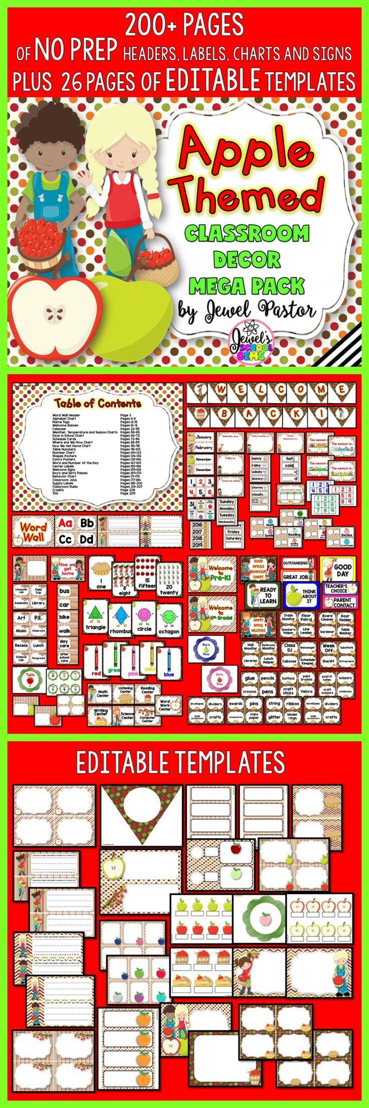 Apple Theme | Apple Theme Classroom Decor | Welcome your students to an applicious classroom with this Apple Themed Classroom Decor Mega Pack. It comes with 200+ pages of NO PREP HEADERS, LABELS, CHARTS AND SIGNS plus 26pages of EDITABLE PARTS/TEMPLATES. Included is a PowerPoint file with blank templates. You can easily insert a text box and type in the text you want or need. Buy it from Jewel Pastor on TpT today! | Apple Class Decor | Bulletin Boards | Back to School