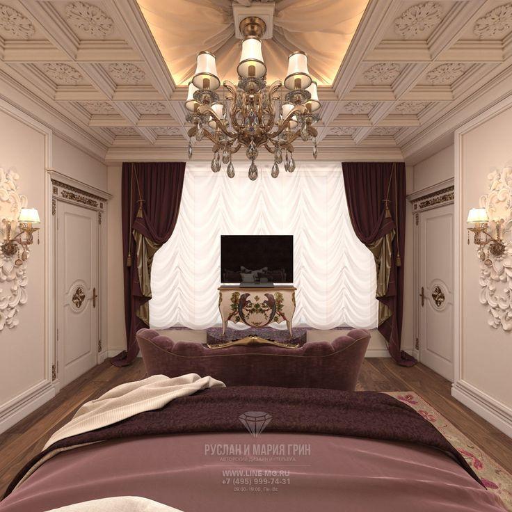 Телевизор в интерьере спальни в классическом стиле