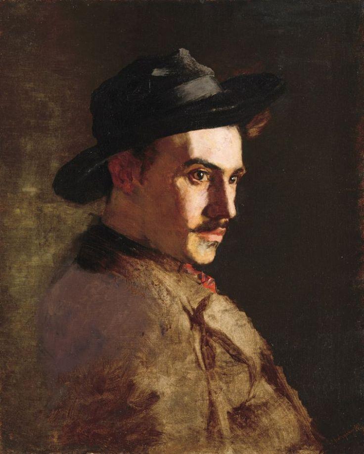 László Mednyánszky (Hungarian, 1852-1919), Portrait of a man. Oil on canvas, 64.5 x 52.5 cm.