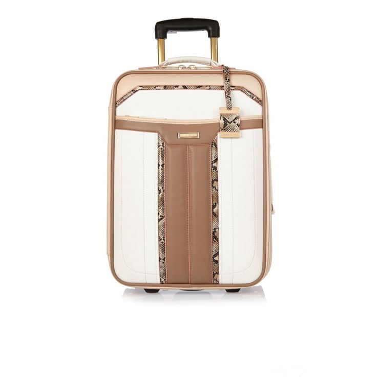 River Island White Panelled Suitcase