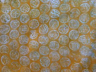 Ah now, this is the way to go.  LOVE printing on fabric. I used some pieces of sheet cotton and Pebeo Setacolors and Jacquard Lumiere.  I occasionally mixed the two types of paints together because the Lumiere gives a lovely sheen.  I also added Pebeo's Setacolor medium which meant my paints went further.  First layer I used textures.  My favourite were a fun foam stamp, bubblewrap (awesome), wallpaper and a grouting tool to make lines: