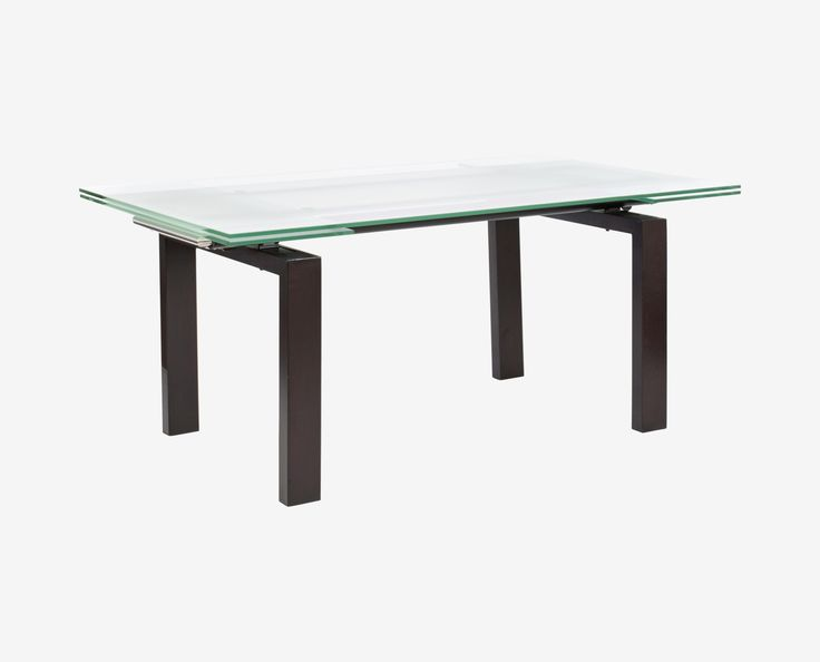 Original price $699. Scandinavian Designs - The contemporary beauty of the Caroline dining table features a balance of materials and finishes. Composed of a clear and frosted glass top, stained legs and hidden extension leaves, this table is truly a contemporary choice.