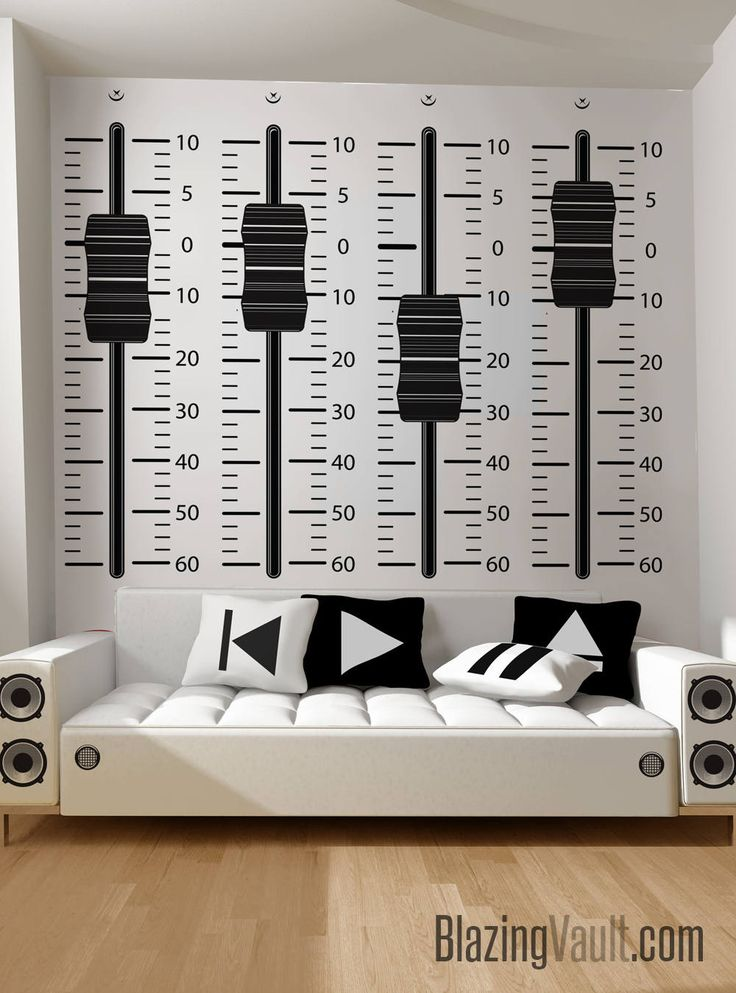 Mixing Console Sliders Wall Decal Black- Recording Studio Music Producer Audio Waves Speakers Beats Dance by Marcos Crespo for Blazing Vault