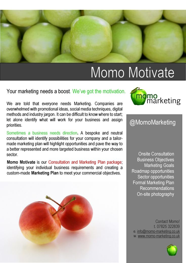 Momo Motivate - our Consultation & Marketing Plan package for small businesses.