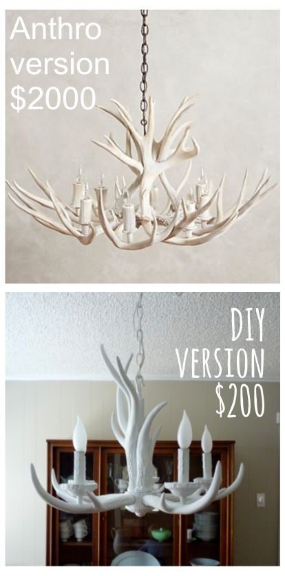 Anthropologie shed antler chandelier hack. Anthro's version is $2000. The DIY version is only $200. Done.
