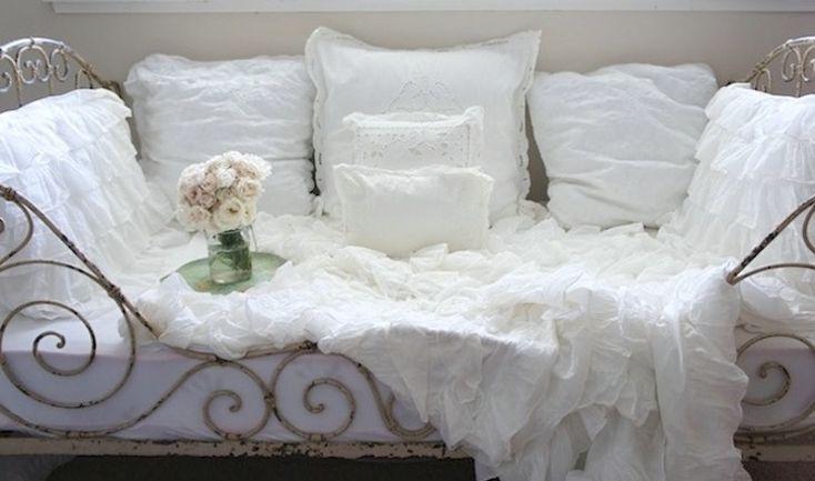Dreamy white ruffled shabby cottage chic european euro sham Day bed, Shabby chic and Shabby ...