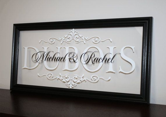 "Personalized Family Name Sign Solid Wood Picture Frame Established Date Last Name Monogram Wedding Gift Anniversary Gift 9""x19"""