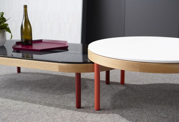 The Goodwood table's different heights and shapes allow for an interesting feature when paired together. Designed by Doshi Levien for Schiavello.