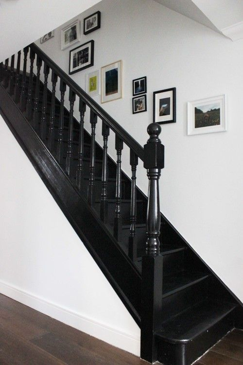 Superior Black Painted Staircase In Litle Greene Jack Black Paint #BlackInteriors