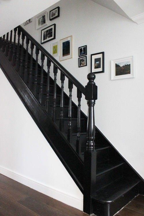 Black painted staircase in Litle Greene Jack Black paint #BlackInteriors
