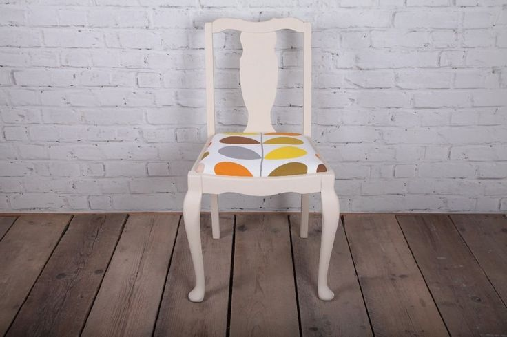 Orla Kiely upholstered dining chair bedroom chair hand painted in light cream chalk paint | Ipswich, Suffolk | Gumtree