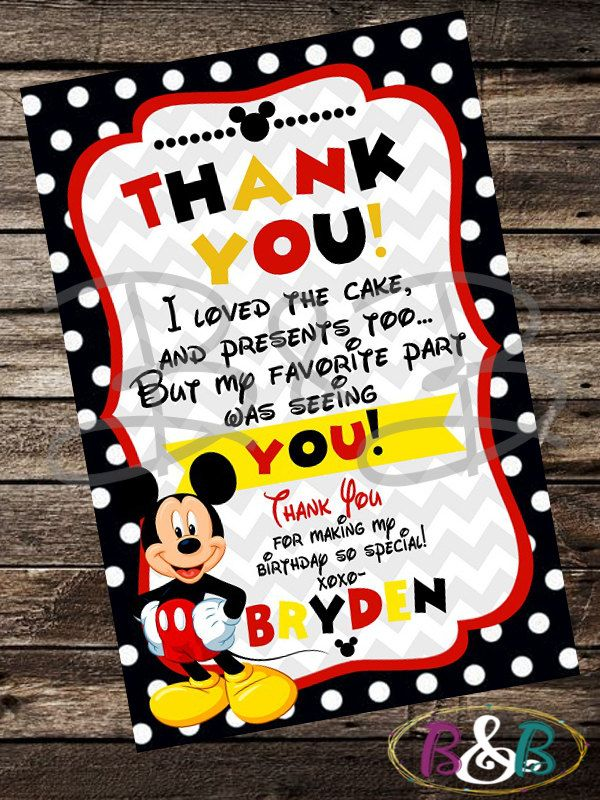 Mickey Mouse Thank You Card. Mickey Mouse Invitation. Mickey