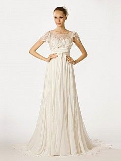 Cap Sleeved A Line Chiffon Bridal Dress with Sheer Lace Top - USD $265.99  topwedding.com